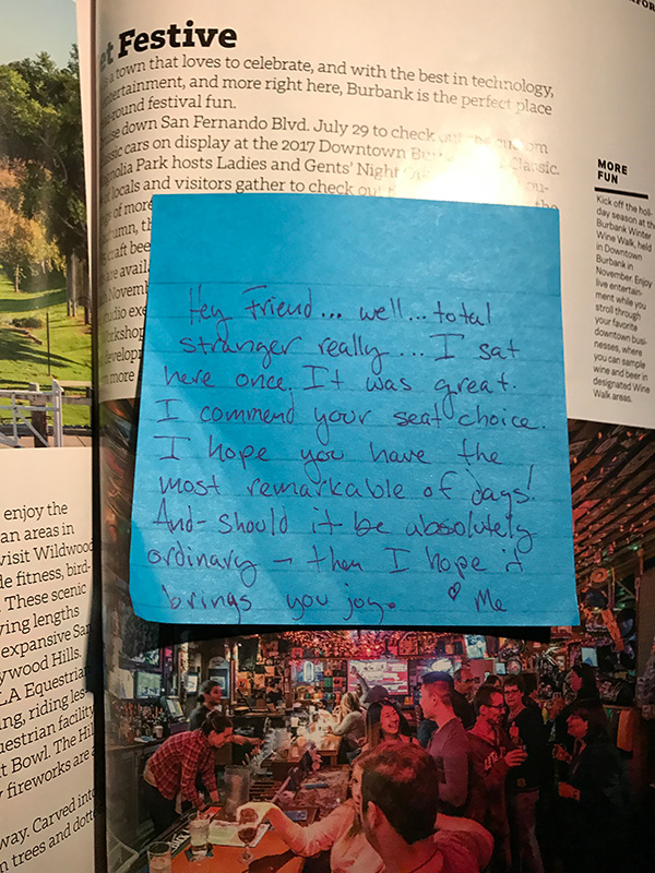 The note I found in the in-flight magazine
