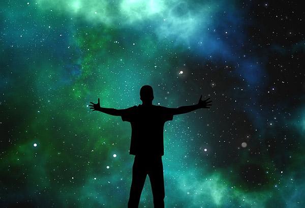 Starry sky silhouette