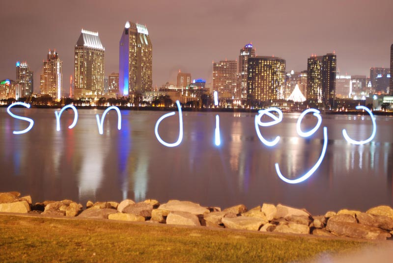 San Diego Spelled with Light